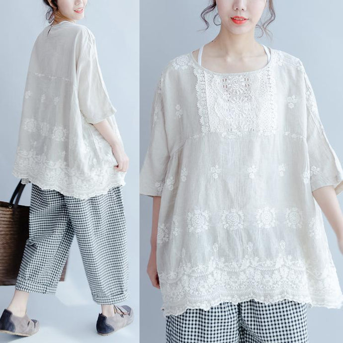 white casual tops linen stylish embroidery pullover bracelet sleeved t shirt