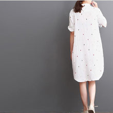 Load image into Gallery viewer, white cotton dresses summer half sleeve shirt dress sundress