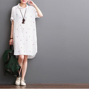 white cotton dresses summer half sleeve shirt dress sundress