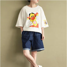 Load image into Gallery viewer, white cute cotton pullover plus size casual t shirt o neck tops cartoon print