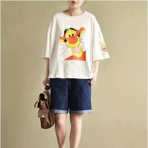 white cute cotton pullover plus size casual t shirt o neck tops cartoon print
