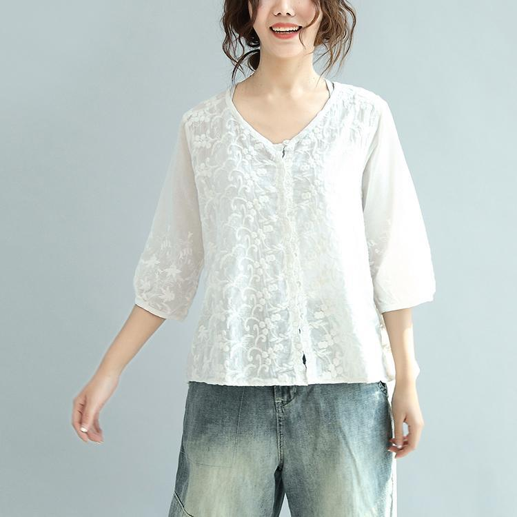 white embroidery cute cotton tops plus size casual blouse half sleeve cardigans