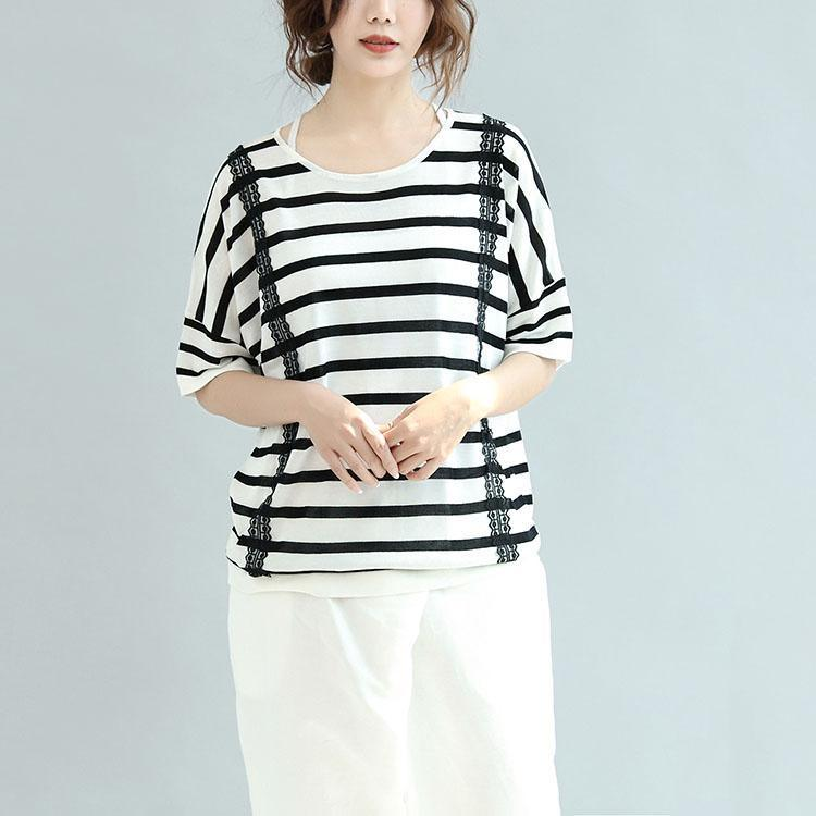 white gray striped cotton tops loose unique blouse short sleeve t shirt