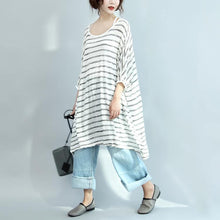 Load image into Gallery viewer, white gray striped sundress plus size casual shift dress cotton o neck women dresses