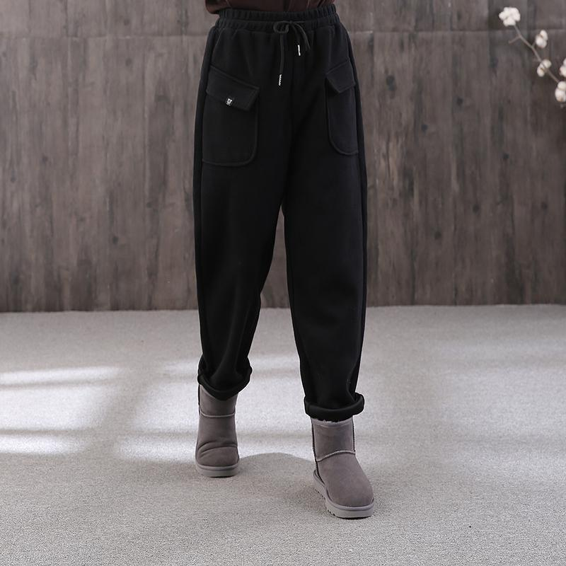 winter black cotton wild straight pants elastic waist drawstring trousers