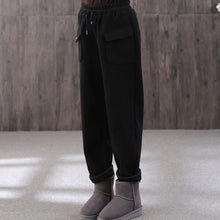 Load image into Gallery viewer, winter black cotton wild straight pants elastic waist drawstring trousers