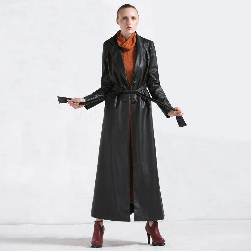 winter fashion women leather coats black tie waist PU trench coat parka