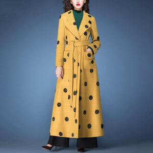 winter fashion woolen blended  yellow dotted prints coats slim fit tie waist maxi trench coat