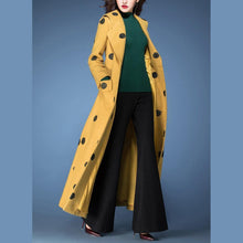 Load image into Gallery viewer, winter fashion woolen blended  yellow dotted prints coats slim fit tie waist maxi trench coat