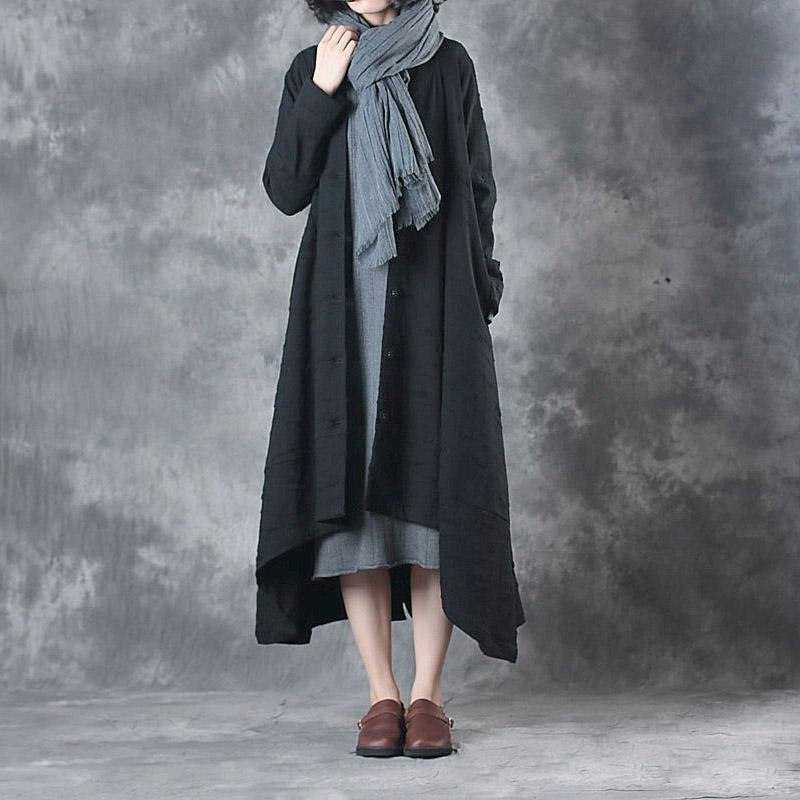 winter thick black casual coats plus size long sleeve asymmetric hem trench coats