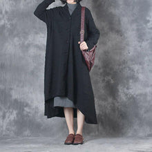 Load image into Gallery viewer, winter thick black casual coats plus size long sleeve asymmetric hem trench coats