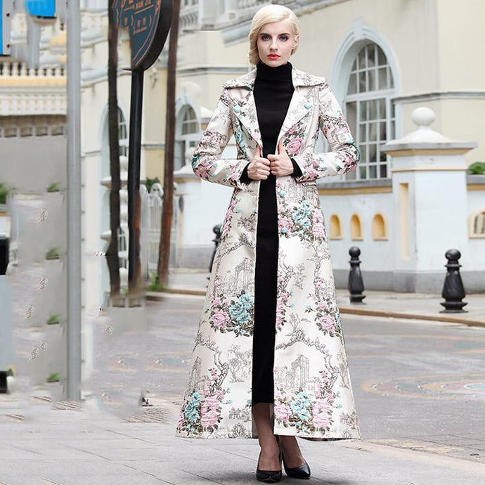 winter vintage embroidery cotton blended trench coats outwear slim long sleeve elegant long coat