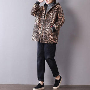 women Leopard spring cotton tops casual cotton hooded tops pockets coat