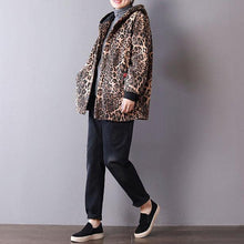 Load image into Gallery viewer, women Leopard spring cotton tops casual cotton hooded tops pockets coat