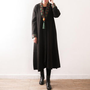 women army green jackets plus size clothing trench coat V neck coat embroidery tassel long coats