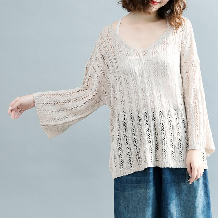 women beige  sweater Loose fitting v neck knitted blouses 2018 hollow out fall blouse