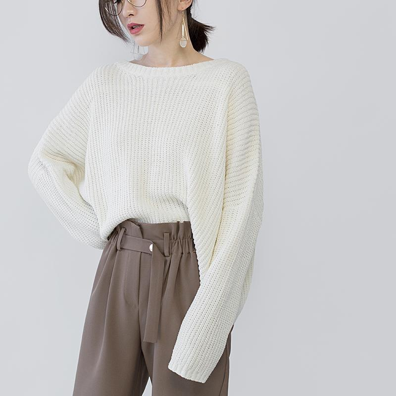 women beige knit sweaters Loose fitting O neck casual Batwing Sleeve fall sweaters