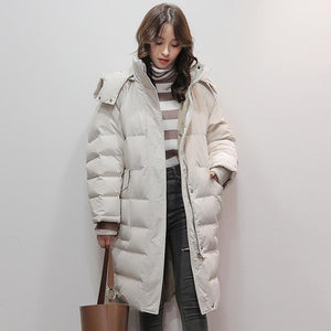 women beige white goose Down coat casual big pockets snow jackets warm coats