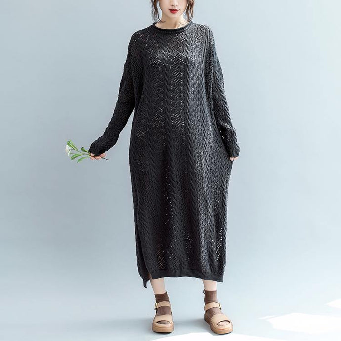women black  sweater dress plus size side open long knit sweaters top quality o neck pullover sweater