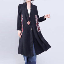 Load image into Gallery viewer, women black Coat casual patchwork  plus  size outwear Elegant v neck coat