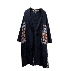 women black Coat casual patchwork  plus  size outwear Elegant v neck coat