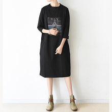 Load image into Gallery viewer, women black Midi-length cotton dress oversize spring dress o neck cotton baggy dresses