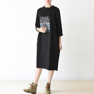 women black Midi-length cotton dress oversize spring dress o neck cotton baggy dresses