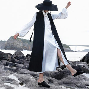 women black Woolen Coats Women trendy plus size V neck coat embroider Sleeveless long coat