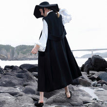 Load image into Gallery viewer, women black Woolen Coats Women trendy plus size V neck coat embroider Sleeveless long coat