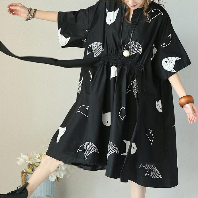 women black cotton baggy dresses casual dress vintage half sleeve print v neck tie waist