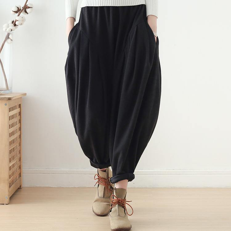 women black cotton harem pants plus size fashion wide leg pants