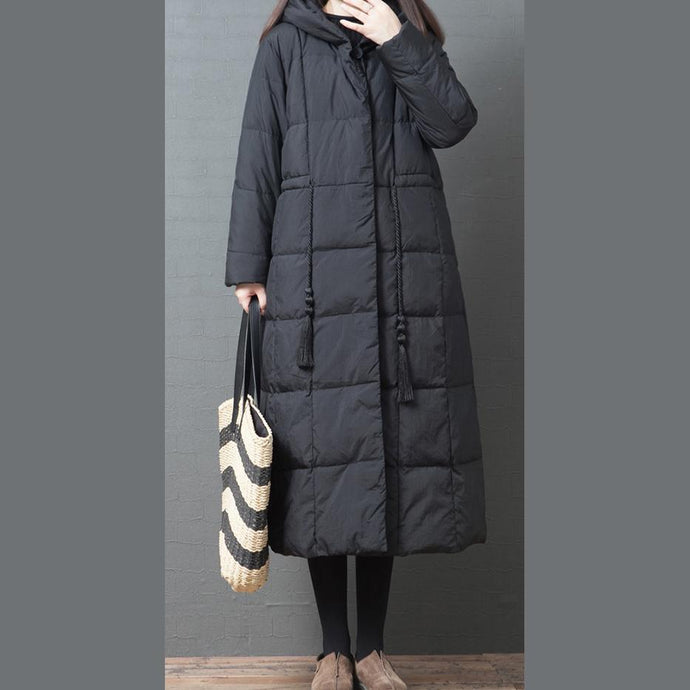 women black down coat winter plus size jackets winter hooded pockets outwear