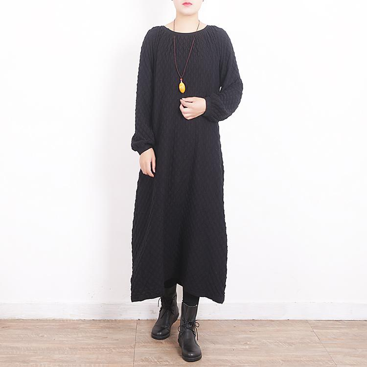 women black knit dresses oversize O neck winter dresses New Plaid sweater