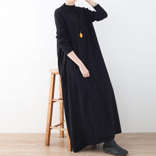 Load image into Gallery viewer, women black knit dresses plus size high neck winter dress New large hem winter dresses