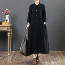 Load image into Gallery viewer, women black linen maxi dresses plus size casual shirt dress long sleeve o neck pockets clothing