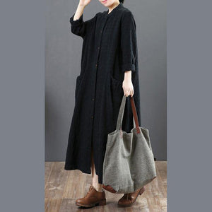 women black linen maxi dresses plus size casual shirt dress long sleeve o neck pockets clothing