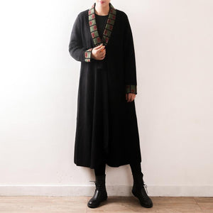 women black outwear plus size clothing long coat V neck embroidery tassel casual coats
