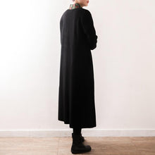 Load image into Gallery viewer, women black outwear plus size clothing long coat V neck embroidery tassel casual coats