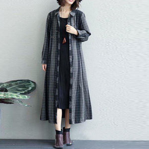 women black plaid  coats plus size lapel collar outwear top quality wild coat