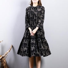 Load image into Gallery viewer, women black prints cotton dresses trendy plus size cotton maxi dress o neck boutique long sleeve dresses
