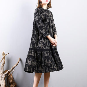 women black prints cotton dresses trendy plus size cotton maxi dress o neck boutique long sleeve dresses