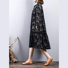 Laden Sie das Bild in den Galerie-Viewer, women black prints cotton dresses trendy plus size cotton maxi dress o neck boutique long sleeve dresses