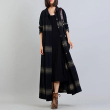 Load image into Gallery viewer, women black striped coat plus size clothing trench coat stand collar women coats