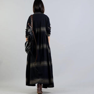 women black striped coat plus size clothing trench coat stand collar women coats