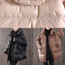 Load image into Gallery viewer, women black thick down jacket woman Loose fitting hooded winter jacket side open Elegant winter outwear