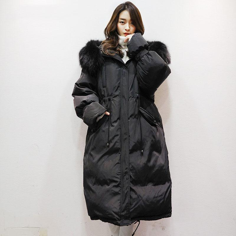 women black warm winter coat plus size faux fur collar hooded womens parka tie waist overcoat