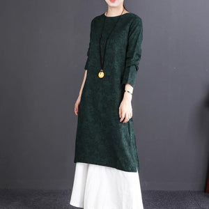 women blackish green linen dresses oversize O neck side open traveling dress Fine long sleeve maxi dresses