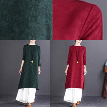 Load image into Gallery viewer, women blackish green linen dresses oversize O neck side open traveling dress Fine long sleeve maxi dresses