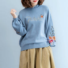 Load image into Gallery viewer, women blue  cozy sweater plus size clothing embroidery pullover top quality lace  o neck top