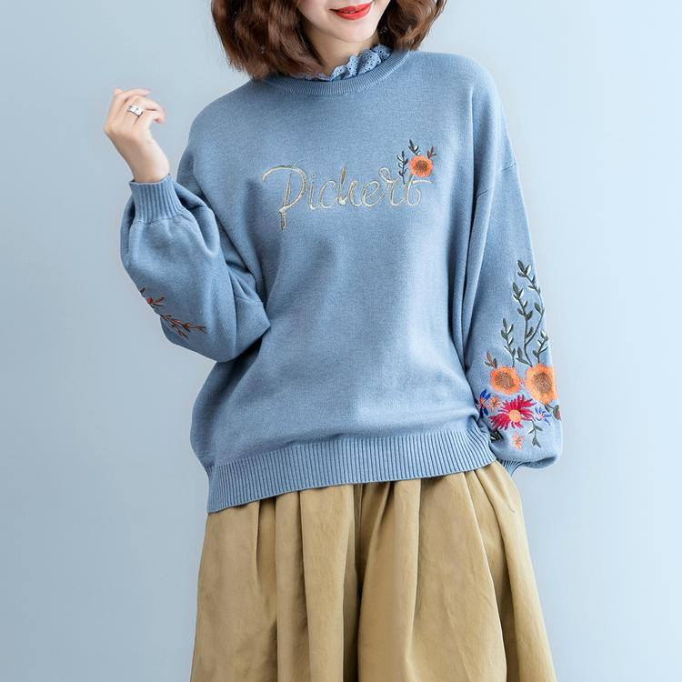 women blue  cozy sweater plus size clothing embroidery pullover top quality lace  o neck top